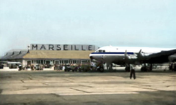 1957 : DC-4 at Marseille's Marignane Airport. Image colourized by Anthony Zois.