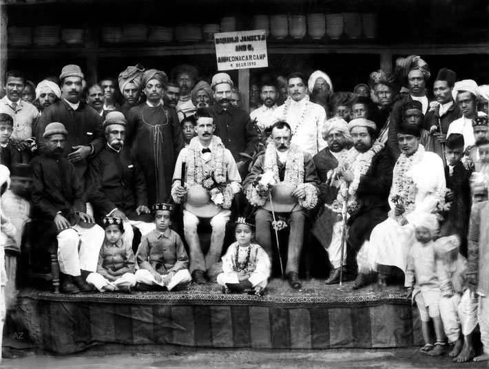 4th December 1899, Ahmednagar, India. Gilori Shah is sitting at the front on the left.  ( restored by Anthony Zois ). Image courtesy of Meher Nazar
