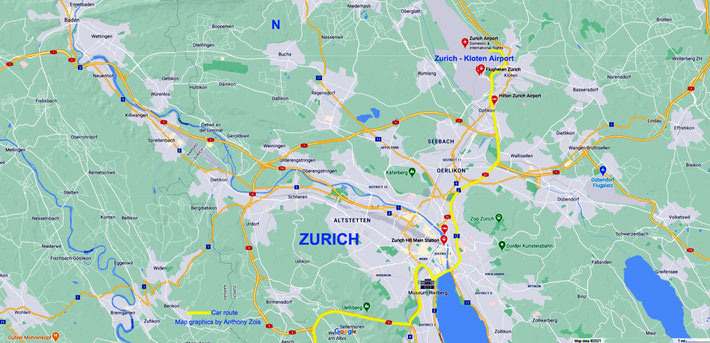 Map 1 : Map showing the City of Zurich & the Kloten-Zurich Airport to the North of the city and the route taken to the South of Switzerland in Yellow.  Map graphics by Anthony Zois.