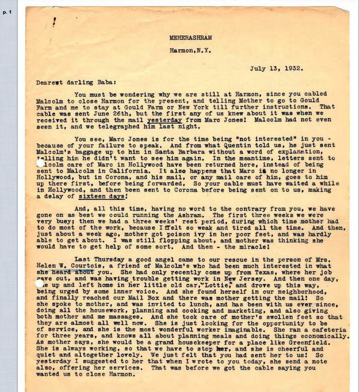 Letter ( page one only ) from Josephine Ross to Meher Baba a month after Baba left Los Angeles. Only this page is pertinant to this topic.