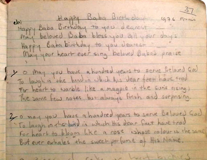1976 : Raine Eastman-Gannett supplied the photo of her notes that shows that Francis Brabazon wrote this birthday song to be sung at May's birthday. After her birthday lunch, he instructed Raine to to leave the name blank so any name could be added.