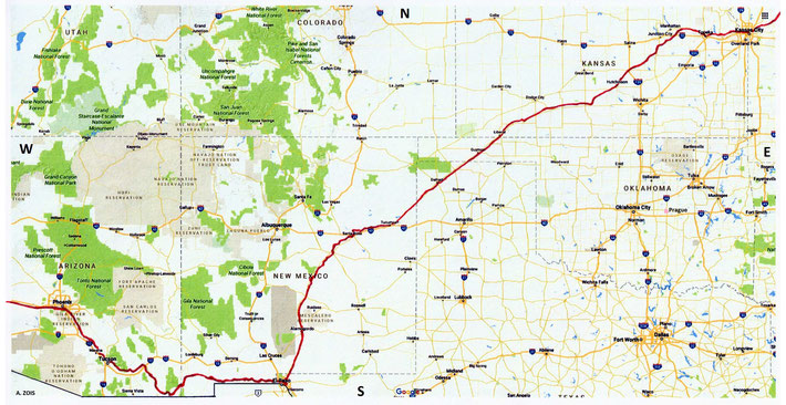Kansas City to Phoenix Train Route Map - Across 5 States