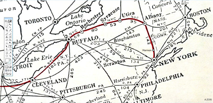 Rail map showing details of Meher Baba's route between New York & Cleveland.