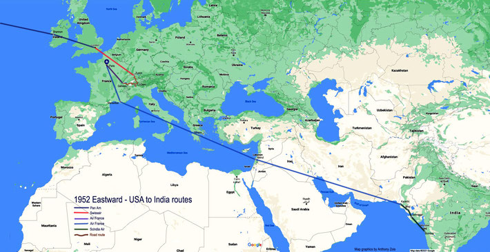 1952 : Detailed Eastward plane & road routes through Europe heading to India. Map graphics by Anthony Zois.