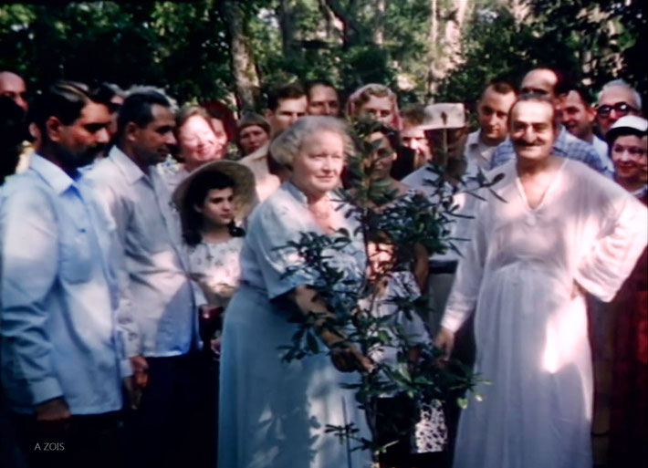 1956 ; Meher Center, Myrtle Beach, SC. Meher Baba and Elizabethpl anting a tree. Image captured by Anthony Zois from a  Sufism Reoriented film.