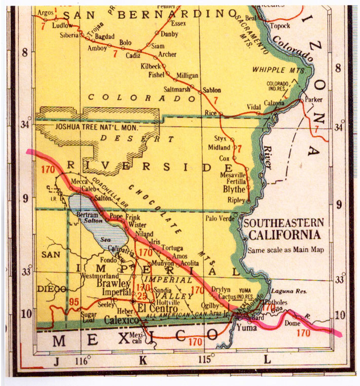 S-E corner of Southern California showing the rail route of Meher Baba's journey -  detail of the border town of Yuma, Arizona
