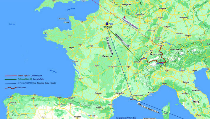 MAP 7 : 1952 - Eastbound Plane & road routes across Europe heading back to India.