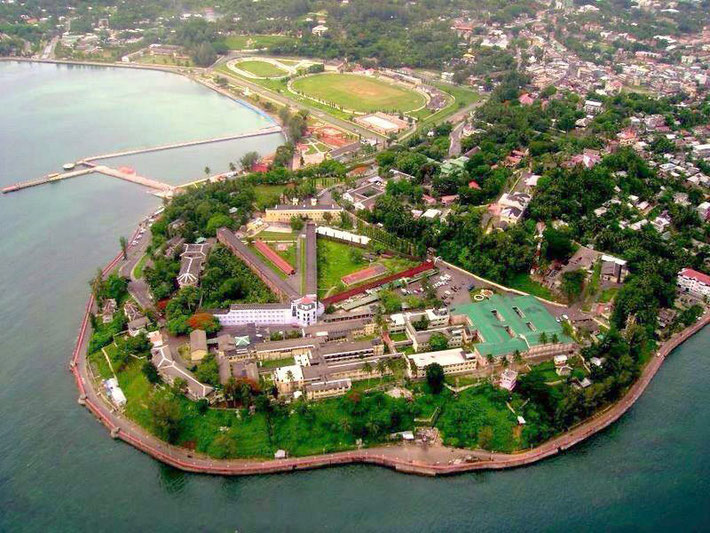 Port Blair, Andaman Island with the Cellular Jail - Prison in the fore-front