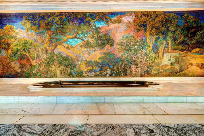 "This is a 15 × 49-foot mosaic of more than 100,000 pieces of Tiffany favrile glass called ""Dream Garden"" created by Maxfield Parrish. It is located in the the lobby of the Curtis Center at 601 Walnut St., Philadelphia, PA.  Photo taken by Frank Bloise"