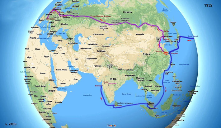 Globe graphics created by Anthony Zois - the 3rd & last leg of Meher Baba's 1st World Tour. Asia-Pacific ship routes & Herbert Davy's epic train journey from Nanking ( China ) to Marseilles ( France ).