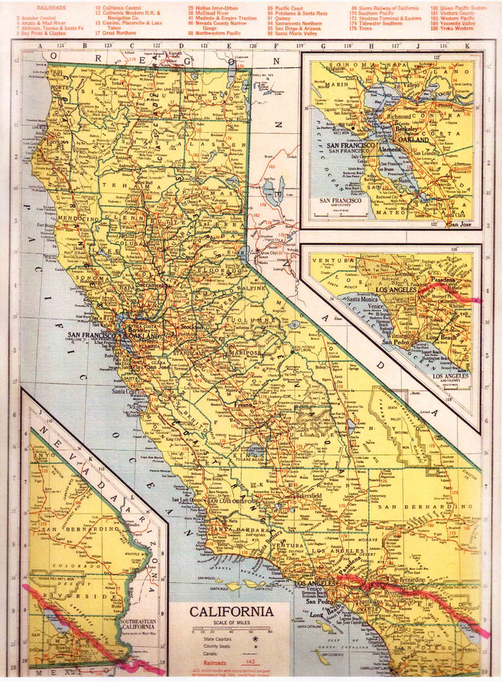 CALIFORNIA STATE MAP. This map shows the journey Meher Baba took across the state of California. This map apart from the rivers and county lines only shows rail-lines not roads.