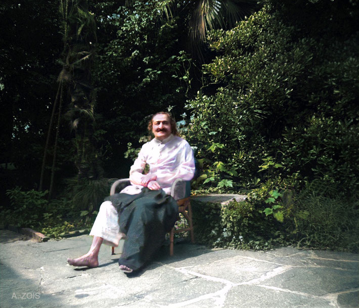 1952 : Meher Baba recouperating at the Merten's home, Locarno, Switzerland. Image colourization by Anthony Zois.