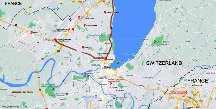 Map 4 : showing the routes in Geneva travelled. Map graphics by Anthony Zois.