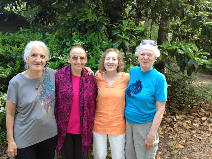 Katie Rose, Marie F. Rhodes, Kendra Crossen and Sandra Douglas at Meher Spiritual Center