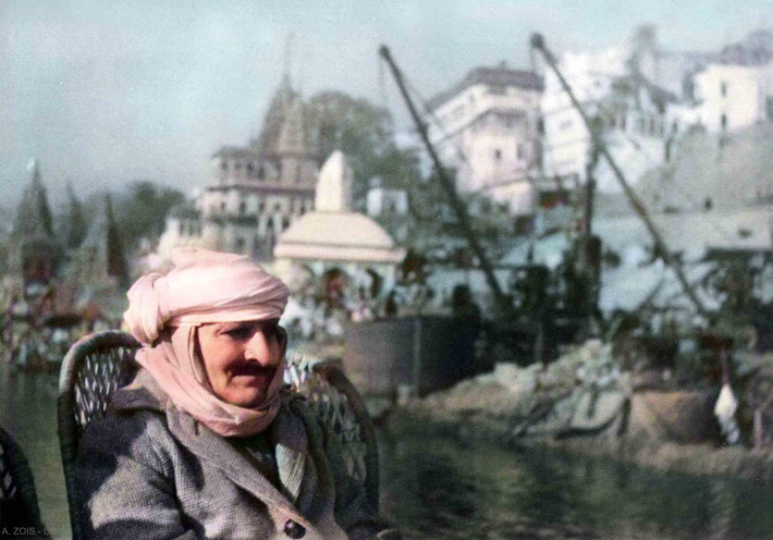 Meher Baba on a boatride on the Ganges River, Benares, India - Jan. 17, 1939. Image colourization by Anthony Zois.