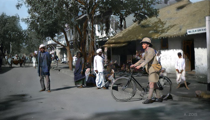 1919  : Malcolm Tank Road, Poona street scene. Image colourized by Anthony Zois.