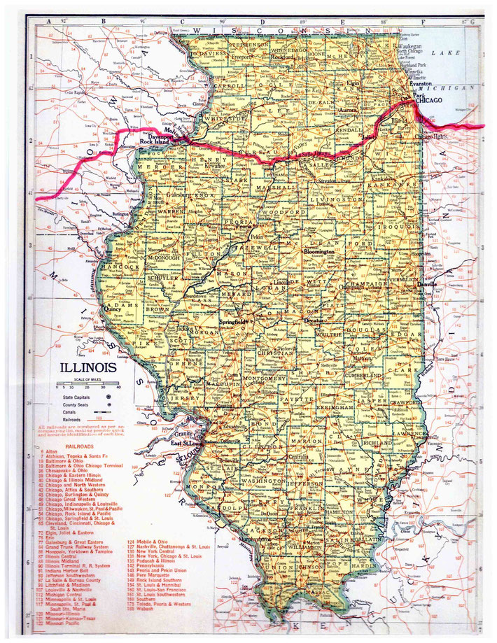 ILLINOIS STATE MAP : This map shows the journey Meher Baba took across the state of Illinois. This map apart from the rivers and county lines only shows rail-lines not roads.