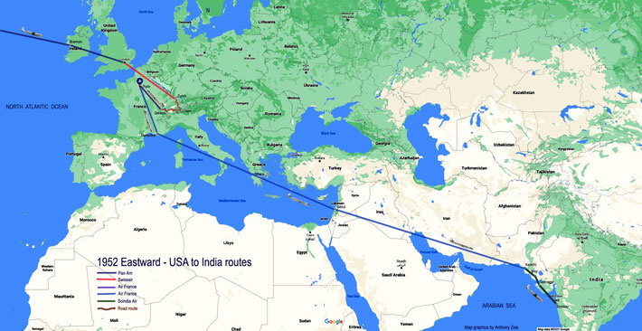 1952 : Detailed Eastward plane & road routes through England, Europe & Middle East to India. Map graphics by Anthony Zois.