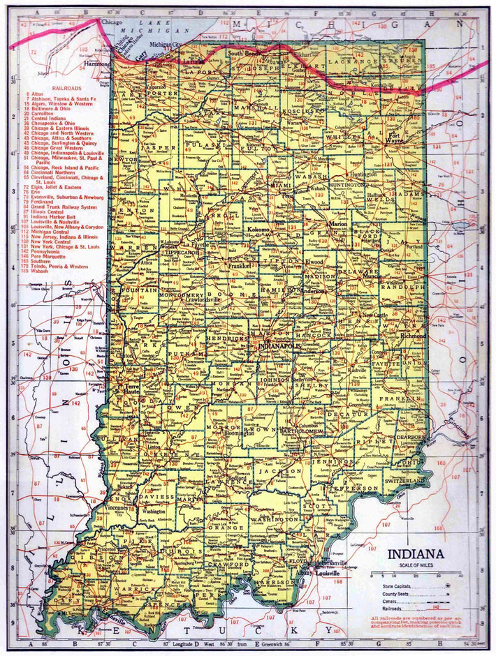 INDIANA STATE MAP : This map shows the journey Meher Baba took across the state of Indiana. This map apart from the rivers and county lines only shows rail-lines not roads.
