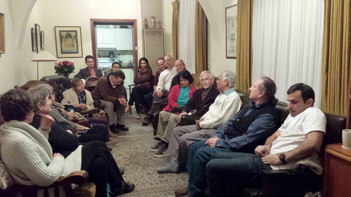 Sepremeber 2015, Melbourne group gathering to hear Pratap and his son Swaroop perform tradional Indian ghazals. Photo taken by Anthony Zois