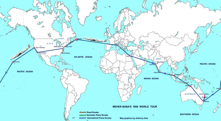 1958 : World map shows the routes Meher Baba took from Bombay to Myrtle Beach, then Australia & back to Bombay, India. Map graphics by Anthony Zois.