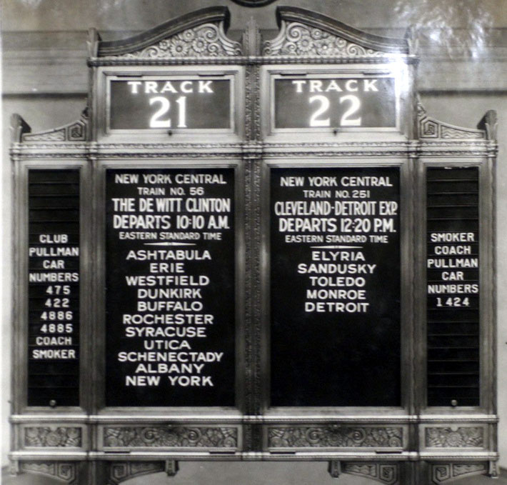 New York's Central Station board showing the train route that Meher Baba took in 1932.