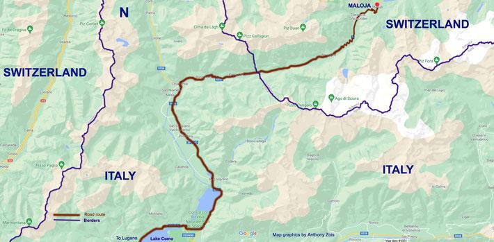 Map 3 : Detailed road route to Maloja, Switzerland via Lugano & Lake Como. Map graphics by Anthony Zois.