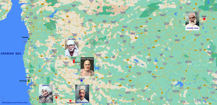 Locations of the 5 Perfect Masters who Awakened Merwan Irani ( Meher Baba ) in India. Map graphics by Anthony Zois.