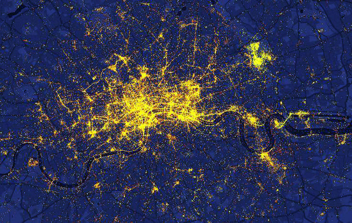 Aerial nightime view of London
