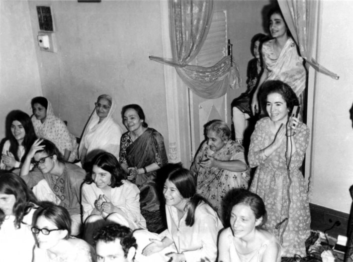 Women Mandali with western women at Guruprasad, Poona, India - 1969 — ( top left back ) with Amrit Irani, Maharani of Baroda, Mehera Irani, Khorshed Irani, Meheru & Mani Irani ( standing )- 2nd row top - Martha Aubin, Andrea Winzimer and MaryAnne Barnhart