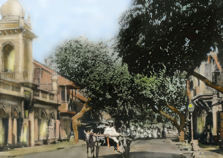 Postcard of Malcolm Tank Road in the 1910s in Poona. In the distance there is a crowd possibly gathering around Hazrat Babajan. It is here that she gave Merwan the kiss to his forehead which started His Advent. Original courtesy of Beloved Archives, NJ.