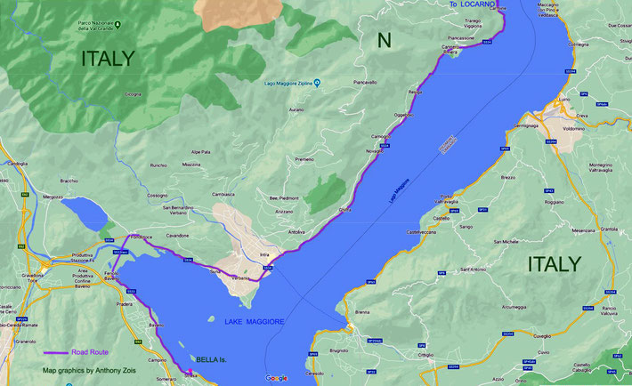 Map 3 : Detail of the 2nd part of the road to Bella Is, Italy.  Map graphics by Anthony Zois.