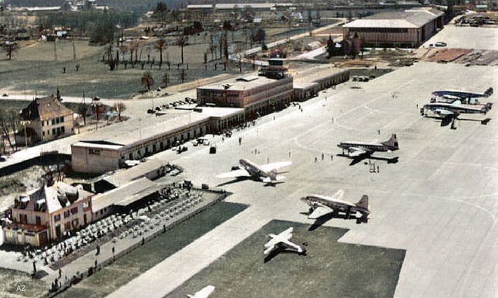 Geneva Airport 1950s. Image colourized by Anthony Zois.