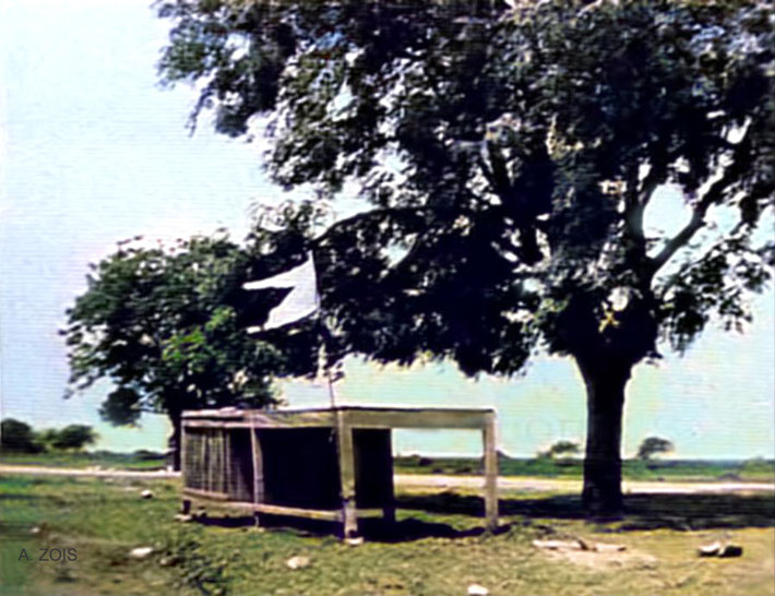 Meher Baba's Table Hut as it original stood, wher Baba wrote most of His book. Image colourized by Anthony Zois.