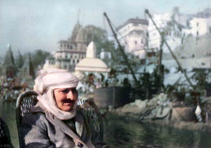 Meher Baba sailing on the Ganges River at Benares ( Varanasi), India. Image colourized by Anthony Zois.