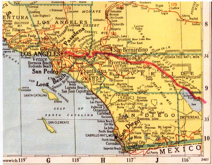 Southern California detail map of Meher Baba's train route to Los Angeles.