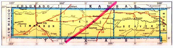 OKLAHOMA pan-handle , close-up map