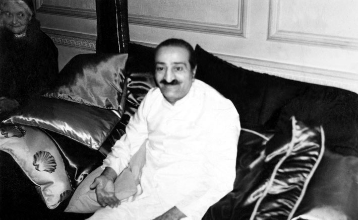 18th July 1956 - Meher Baba at the Rubens Hotel, London. Mary Backett- left