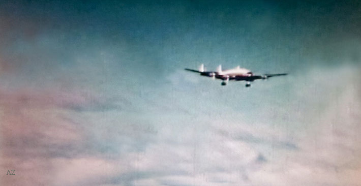"Meher Baba's PAA ( Pan American Airways ) Constellation aeroplane just before landing at Mascot Airport, Sydney. Image was captured by Anthony Zois from the film ""Avatar in Australia""."
