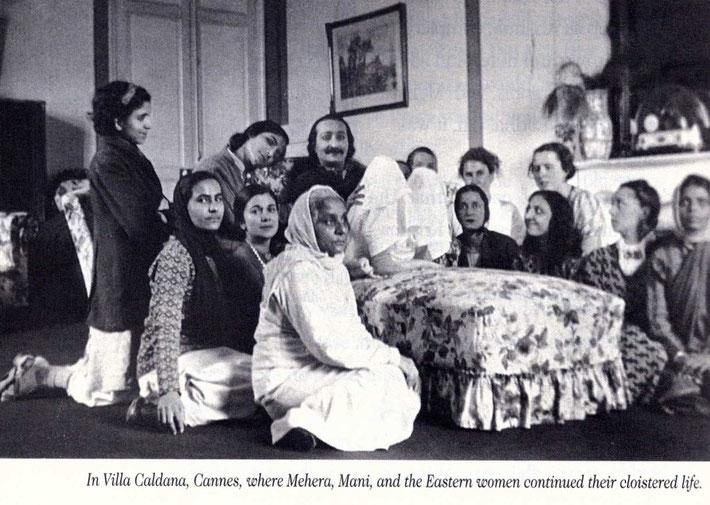 1937 : Villa Caldana, Cannes, France. Mani is on the far left on her knees . Courtesy of Mehera-Meher books.