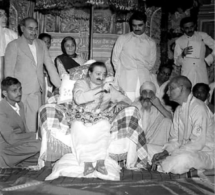 1960s, India Darshan programme ; ( Standing L-R ) Elcha MIstry, Kaka Baria, ? , Gulmai Irani, Eruch Irani & Feram Workingboxwala