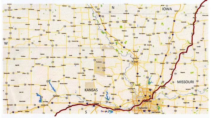 IOWA , MISSOURI & KANSAS Maps ; Davenport to Kansas City - 3rd part of the rail route through Iowa to Kansas