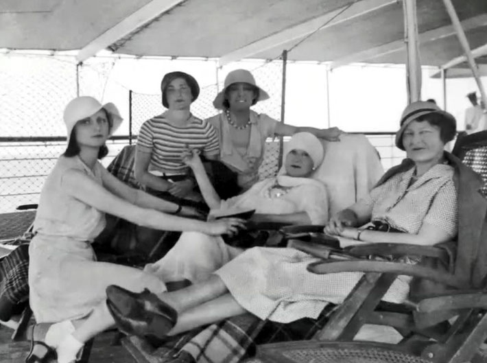 "March-April 1933 . Sailing on the SS Victoria to India. Vivenne is on the far left. Image is from the video  ""I am the One Reality"" ."