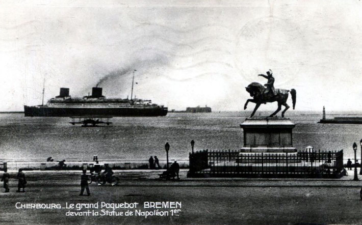 The S.S. Bremen in Cherbourg's harbour
