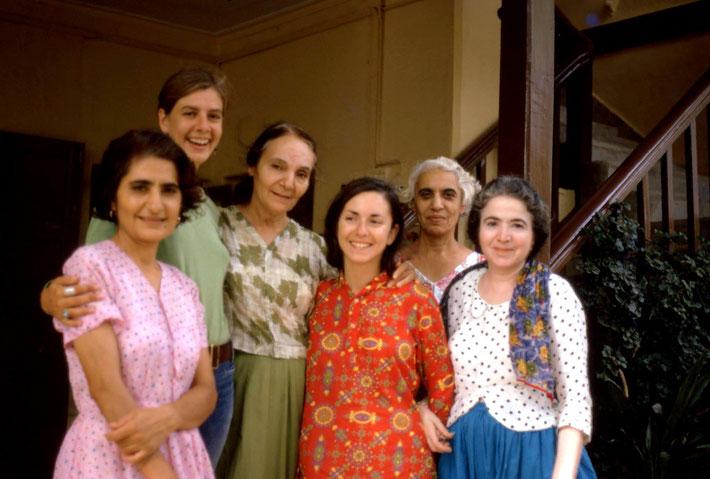 1972 - Meherazad, India : ( L-R ) Meheru Irani, Hetti Johnson, Mehera Irani, Jean, Goher Irani & Mani Irani