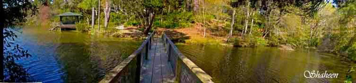 Lake bridge, Meher Spiritual Centre, Myrtle Beach, S.C., USA