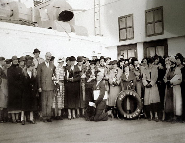 13th May, 1932 - Southampton,England. A crowded gathered to see Meher Baba off on his voyage to New York. Charles Ross is in the front-left. Photo courtesy of Anne Ross. Image edited by Anthony Zois