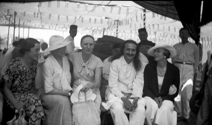 MSI Collection ; Nadine seated on the left wearing a hat at Nasik, India. 1937
