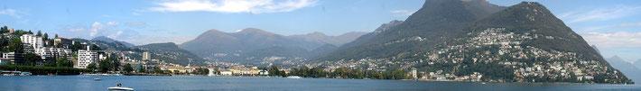 Panoramic view of Lugano & Lake Lugano, Switzerland.