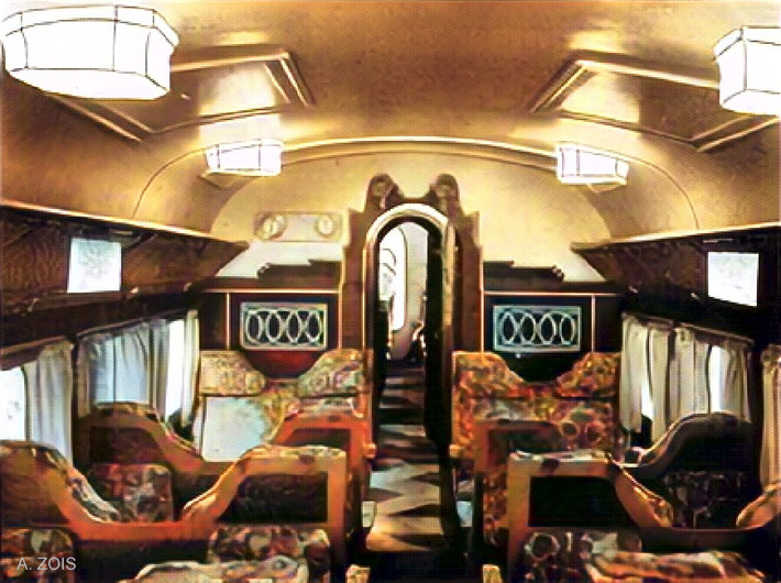 1930s : Taurus Express train interior. Image colourized by Anthony Zois.